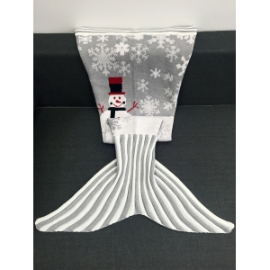 Christmas Snowman Pattern Knitted Mermaid Tail Blanket - Light Gray - W31.50inch*l70.70inch