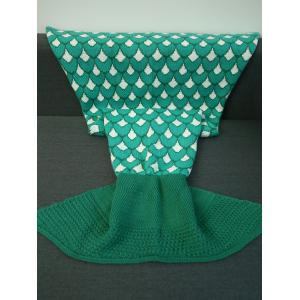 Knitting Jacquard Design Mermaid Tail Shape Blanket - Green - M