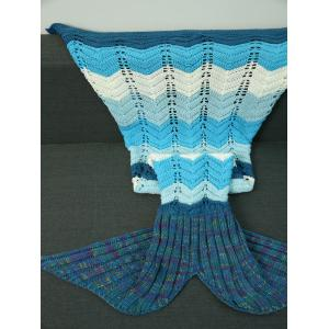 Knitted Wave Striped Openwork Design Mermaid Blanket - Colormix - M