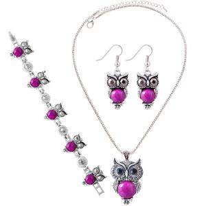 A Suit of Faux Gem Owl Jewlry Set - Rose Red