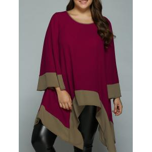 Plus Size Flare Sleeve Asymmetrical Blouse - Wine Red - Xl