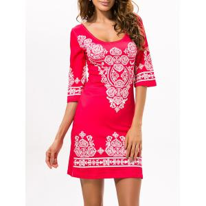 Stretchy Ethnic Style Printed Dress