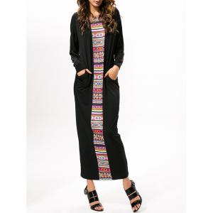 Printed Loose Prom Long Sleeve Maxi Dress