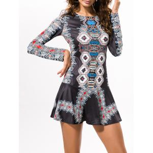 Cut Out Vintage Printed Mini Dress