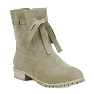 Lace Up Flat Heel Suede Short Boots - Khaki - 40
