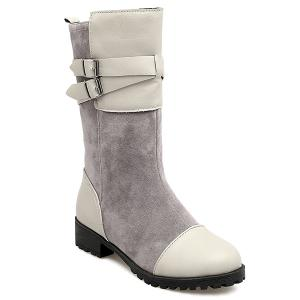 Suede Double Buckle Mid Calf Boots - Gray - 38
