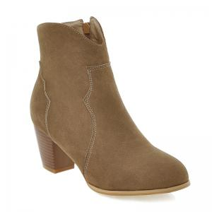 Suede Zip Chunky Heel Ankle Boots - Brown - 37