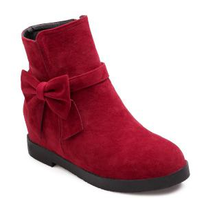 Suede Bowknot Hidden Wedge Short Boots - Deep Red - 38
