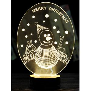 Merry Christmas Snow Man 3D LED Wooden Base Sleeping Night Light