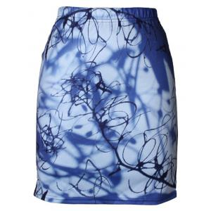 High Waist 3D Print Bodycon Skirt - Blue - M
