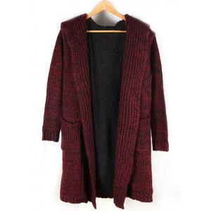 Heathered Pocket Front Fleece Lined Hooded Cardigan - Red - Xl