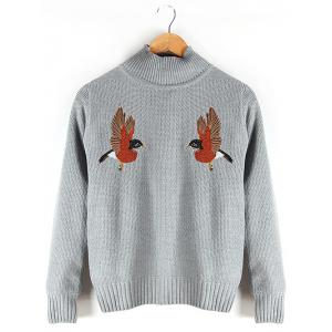 Stand Collar Embroidered Ribbed Sweater