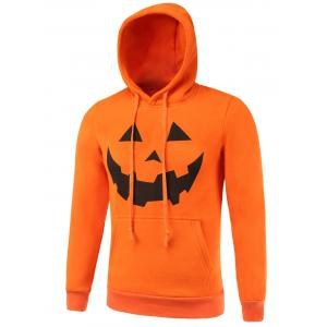 Kangaroo Pocket Drawstring Hallowmas Orange Hoodie