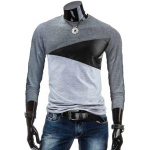 Crew Neck PU-Leather Spliced Color Block T-Shirt - Deep Gray - M