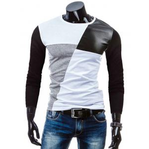 Crew Neck Color Block PU-Leather Spliced T-Shirt - White - Xl
