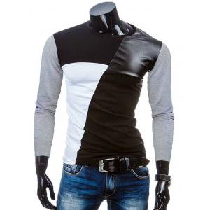 Crew Neck Color Block PU-Leather Splicing T-Shirt - Light Gray - M