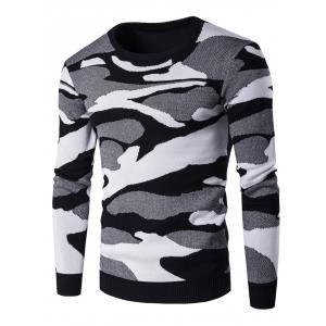 Crew Neck Camouflage Pattern Long Sleeve Sweater