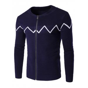 Crew Neck Waviness Knitting Splicing Zip-Up Cardigan