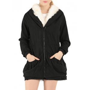 Fake Fur Drawstring Parka Warm Hooded Coat