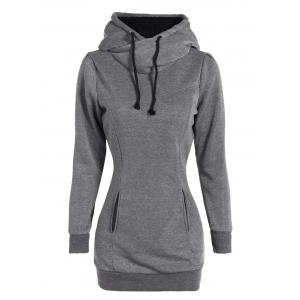 Slim Pockets Design Pullover Neck Hoodie - Gray - L