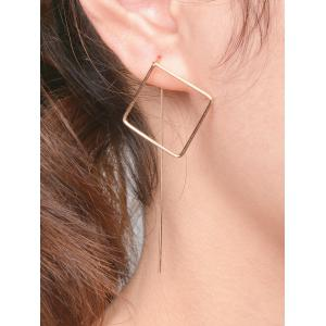 Pair Of Hollow Out Square Earrings - Golden - 8