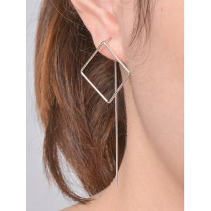 Pair Of Hollow Out Square Earrings - Silver