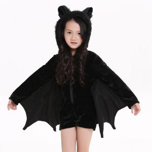 Kids Halloween Party Supply Cosplay Bat Zipper Jumpsuit Connect Wings Costume For Girls - Black - S