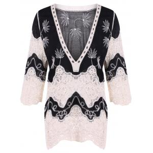 Lace Splicing Plunge Neck Blouse