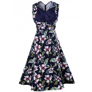 Vintage Sleeveless Print A Line Dress