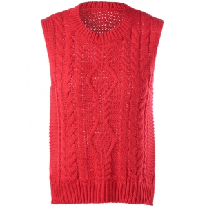 Cable-Knit Sleeveless Textured Knitwear - Red - One Size