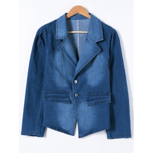 Buttoned Slimming Denim Blazer - Denim Blue - 5xl