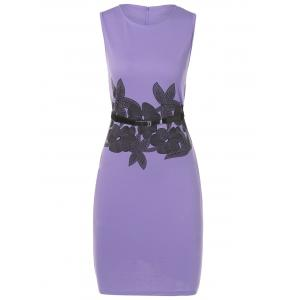 Belted Flower Print Pencil Bodycon Formal Dress