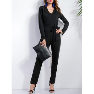 Long Sleeve Bow Belt Jumpsuit - Black - S