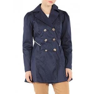 Slim Fit Double Breasted Dressy Trench Coat - Purplish Blue - M