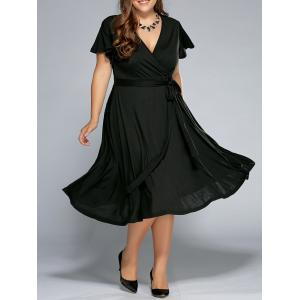 Low Cut A Line Plus Size Surplice Front Tie Swing Dress - Black - 5xl
