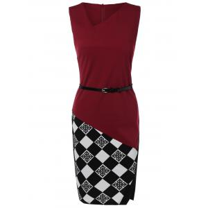 Argyle Skew Neck Sleeveless Bodycon Pencil Dress