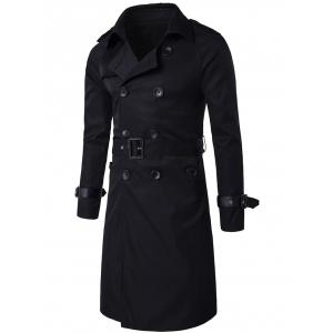 Epaulet PU-Leather Belt Embellished Double-Breasted Long Trench Coat - Black - M