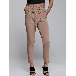 High Waisted Belted Slimming Narrow Feet Pants - Khaki - Xl