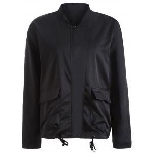 Autumn Drawstring Pockets Satin Bomber Jacket