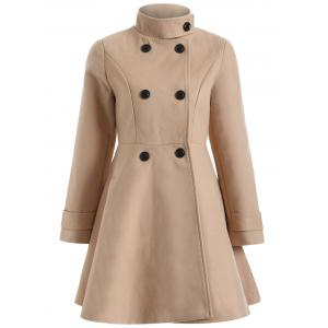 Warm Double-Breasted Felt Trench Coat - Camel - M