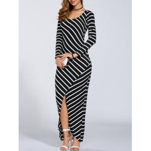 Petite Striped Long Sleeve Slit Jersey Maxi Dress