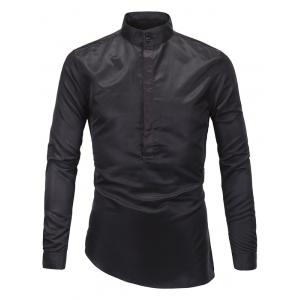 Stand Collar Half Button Up Shirt - Black - M
