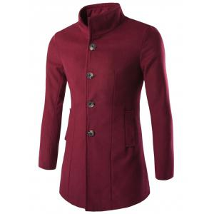 Slim-Fit Stand Collar Wool Blend Coat - Wine Red - M