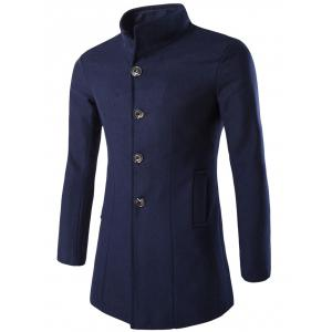 Slim-Fit Stand Collar Wool Blend Coat - Cadetblue - M