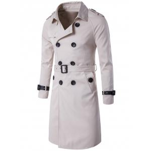 Epaulet Design Double Breasted Long Trench Coat - Off-white - 2xl
