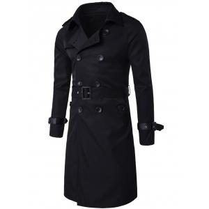 Epaulet Design Double Breasted Long Trench Coat - Black - L