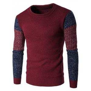 Crew Neck Color Block Space Dyed Sweater - Wine Red - M