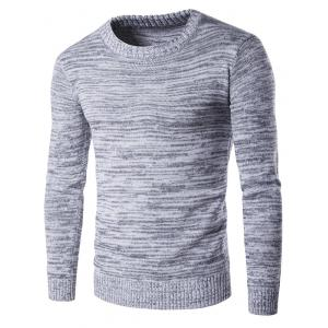 Crew Neck Space Dyed Sweater - Gray - M