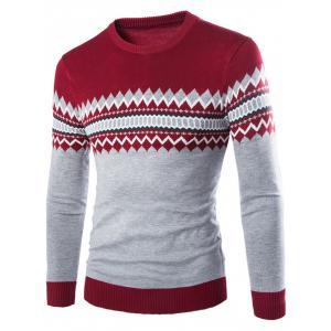 Crew Neck Color Block Geometric Knitwear - Wine Red - M