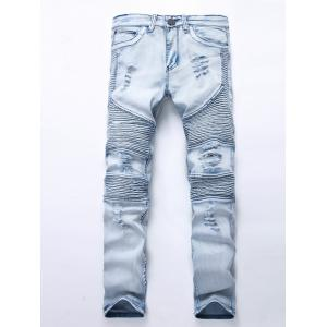 Distressed Light Denim Moto Jeans